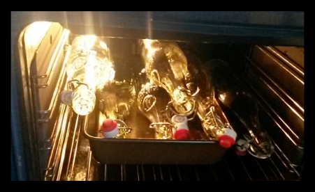 Sterilising bottles in the oven...